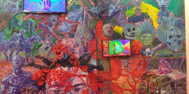 Detalhe de obra de Thiago Martins de Melo, na 13ª Bienal Naïfs do Brasil, no SESC-Piracicaba