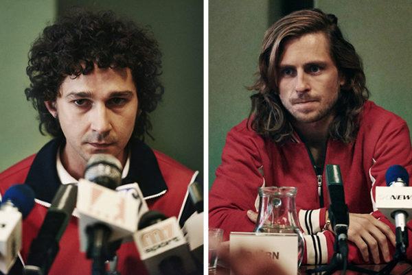 LaBeouf e Gudnason, como McEnroe e Borg (Foto Divulgação)
